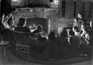 The Rev. Dr. J. Garland Waggoner, senior pastor of Storrs Congregational from 1927 to 1968, gathers with university students at a retreat in the 1950s.