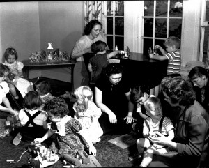 Storrs Congregational Church children gather around Christmastide in the mid-20th-century.