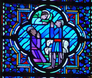 """Annunciation of Christ's Birth to the Shepherds by Angels"", stained glass at the Cathedral in Amiens, France (composition by J. Le Breton; glass studio of Gaudin, Paris), 1933."