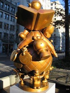 """""""Educating the Rich on the Globe"""" (sculpture), Tom Otterness, 1997"""
