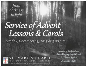 Advent Lessons & Carols 2015 flyer