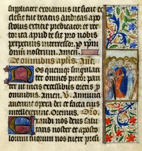 Nehemiah in the Liturgy from a book of hours, manuscript illumination, c. 1480