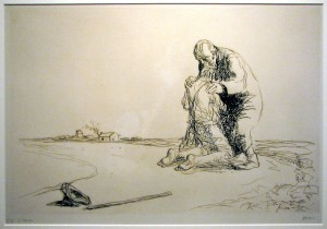 """Prodigal Son"", drawing by Jean Louis Forain (1852-1931)"